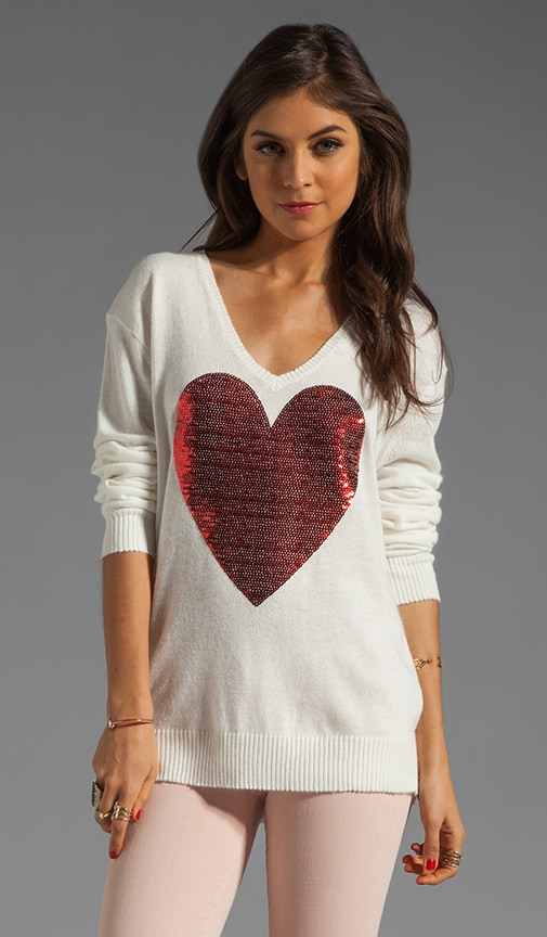 White Label Sequin Heart Sweater