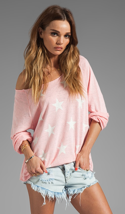 Jazzercise Stars Off the Shoulder Sweatshirt