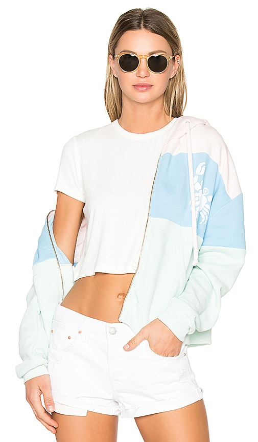 Wildfox Couture Sand Crab Stripe Hoodie in Blue