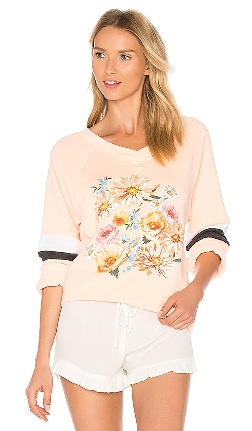 Wildfox Couture Nana's Wallpaper Pullover in Peach