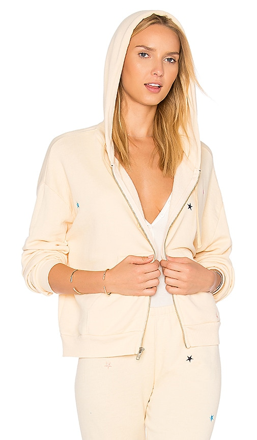 Wildfox Couture Starlet Embroidery Zip Up Sweatshirt in Yellow