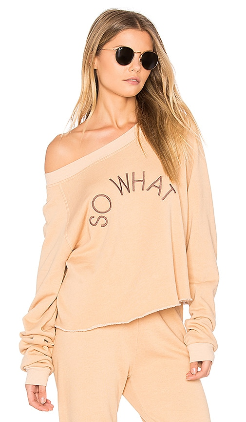 Wildfox Couture So What Cropped Sweatshirt in Beige