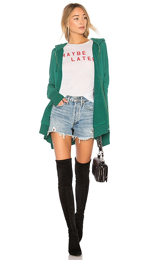 Wildfox Couture Solid Zipper Hoodie in Green