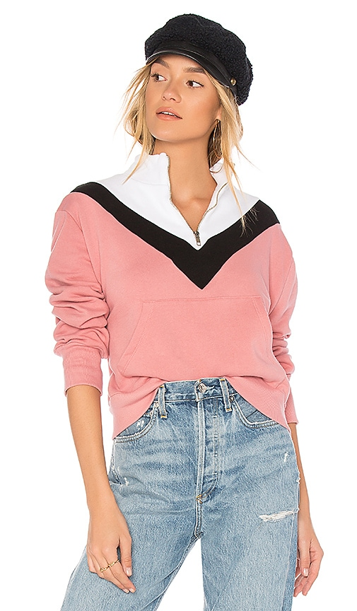 Wildfox Couture Colorblock Zipper Sweatshirt in Pink