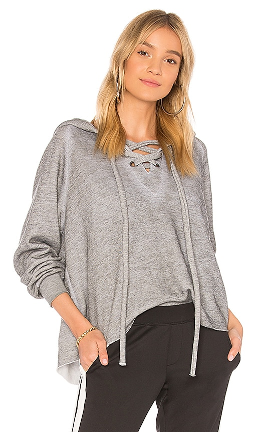 Wildfox Couture Lace Up Cropped Hoodie in Gray