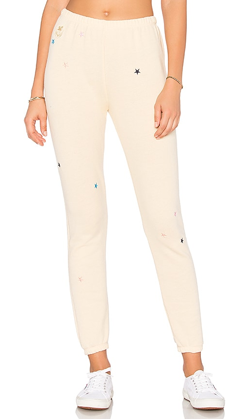 Wildfox Couture Starlet Embroidery Sweatpants in Yellow
