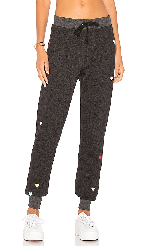 Wildfox Couture Embroidered Hearts Jack Jogger in Black