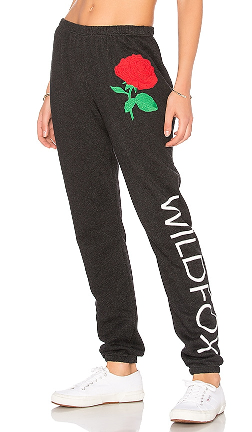 Wildfox Couture Wild Rose Sweatpant in Black