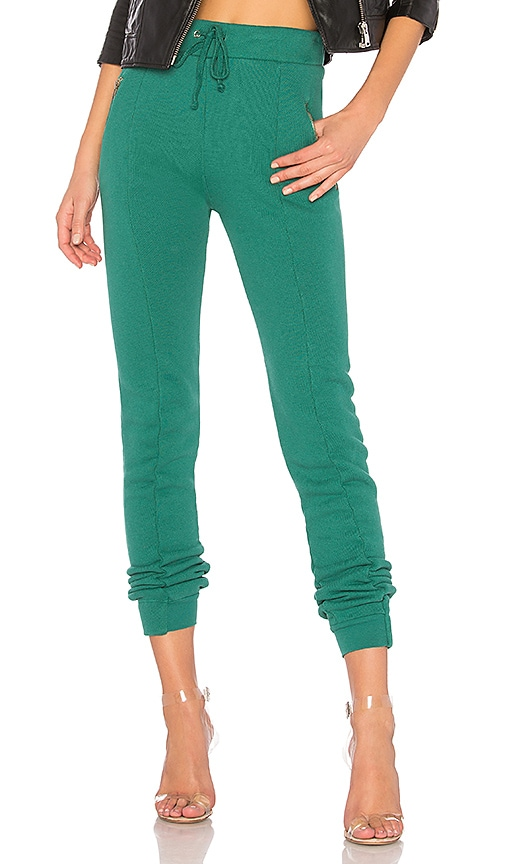 Wildfox Couture Solid Zipper Sweatpant in Green