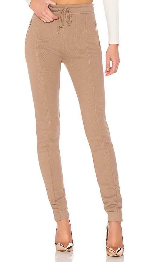 Wildfox Couture Solid Zipper Sweatpant in Brown