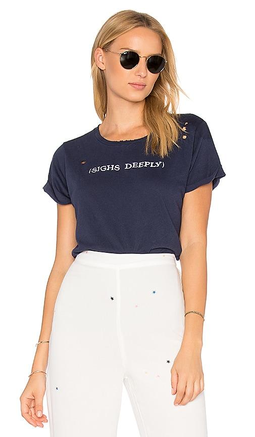 Wildfox Couture Sighs Deeply Tee in Navy
