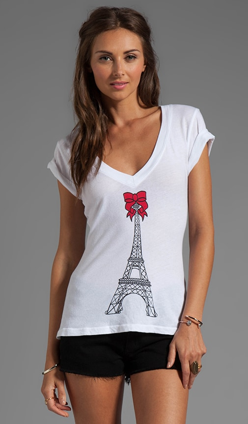 Eiffel Tower Short Sleeve V-Neck