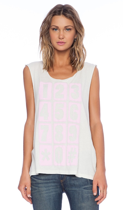 Wildfox Couture Phone Numbers Tank in Ivory