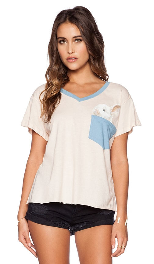 Wildfox Couture Pocket Bun Tee in Blush