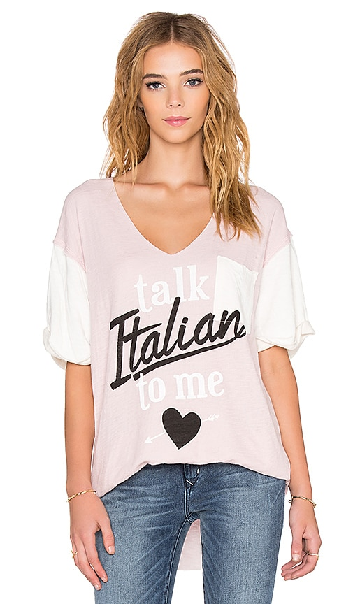 Wildfox Couture Talk Italian To me Tee in Pout & Vintage Lace