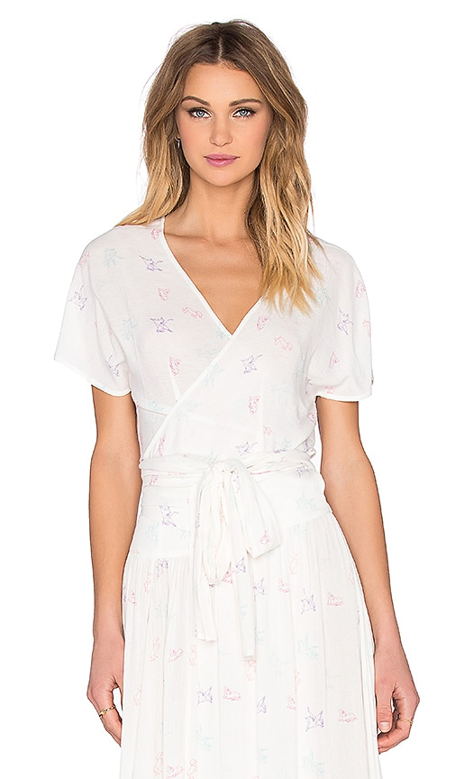 Wildfox Couture Short Sleeve Wrap Top in Clean White