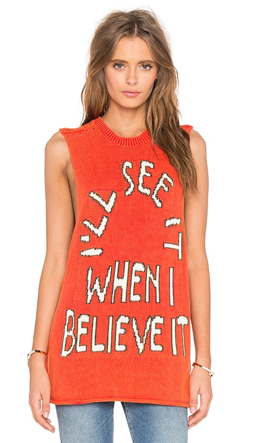 Wildfox Couture Believe It Muscle Tank in Orange