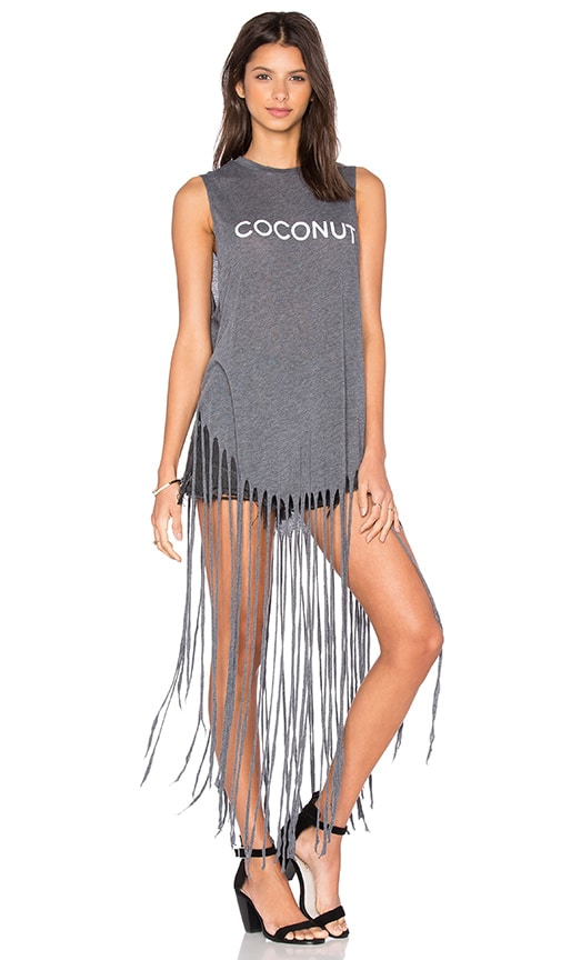 Wildfox Couture Coconut Fringe Tank in Dirty Black