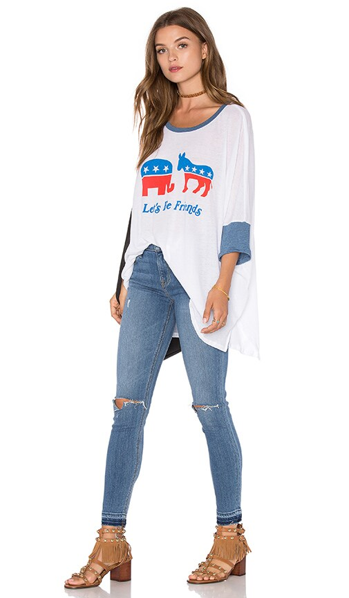 Wildfox Couture Friendship Top in Clean White & Monday Blues