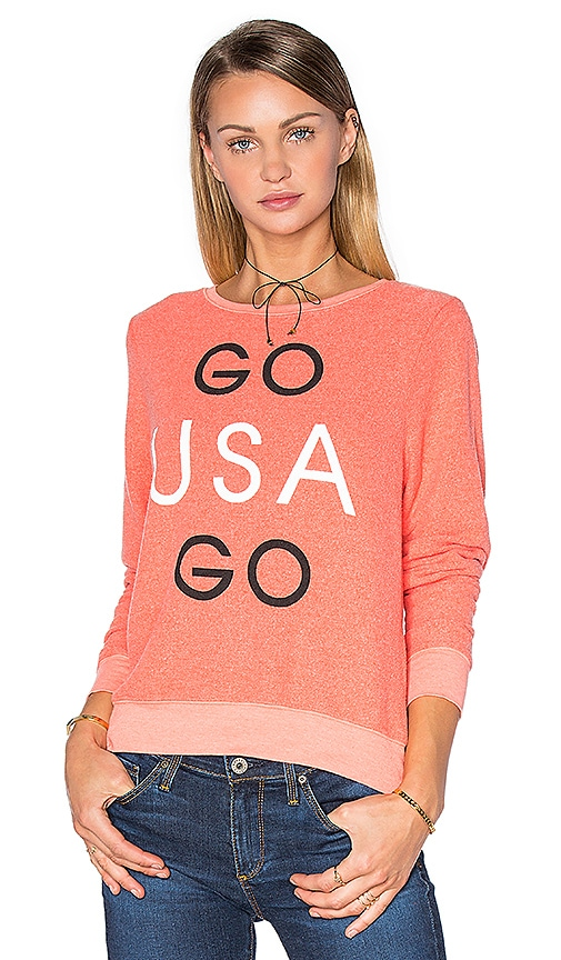 Wildfox Couture Go Team Go Tee in Coral