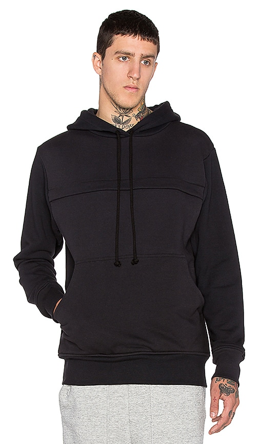 Wil Fry Pouched Hoodie in Black