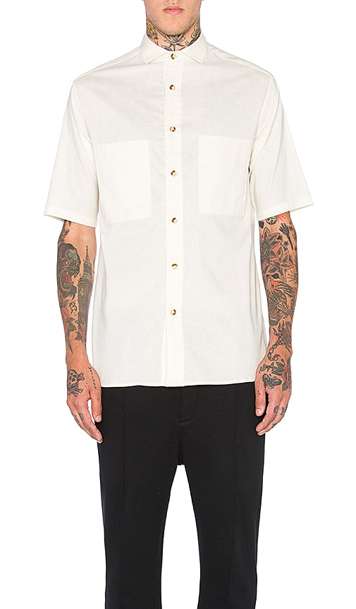 Wil Fry Short Sleeve Utility Shirt in Beige