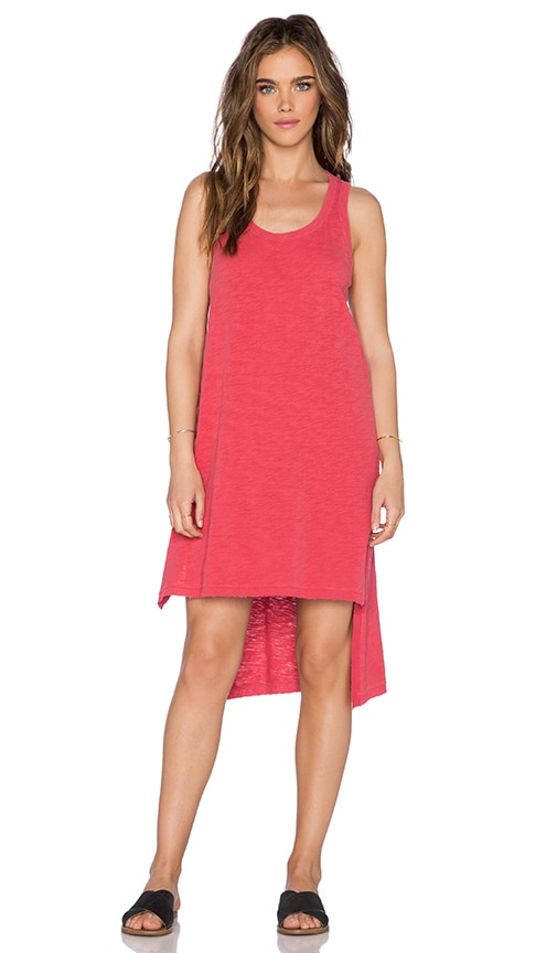 Wilt Slub Jersey Uneven Tank Dress in Distressed Tomato