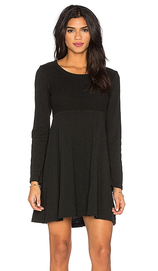Wilt Slub Long Sleeve Flare Mixed Tee Shirt Dress in Black