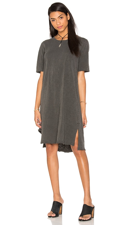 Wilt Slub Short Sleeve Cutout Hem Tee Dress in Gray
