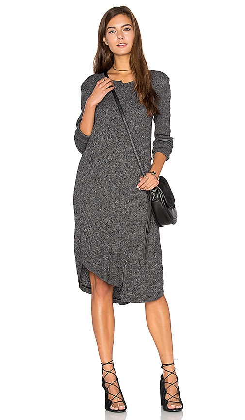 Wilt Shifted Shirt Elbow Sleeve Dress in Charcoal