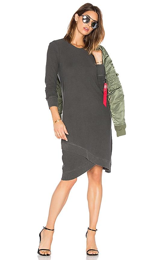 Wilt Cross Hem Long Sleeve Dress in Charcoal