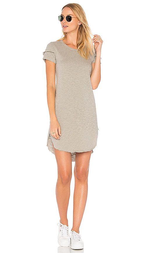 Wilt Shifted Tee Dress With Sleeve Detail in Gray