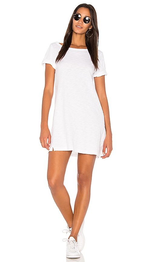 Wilt One Shoulder Roll Cuff Tee Dress in White