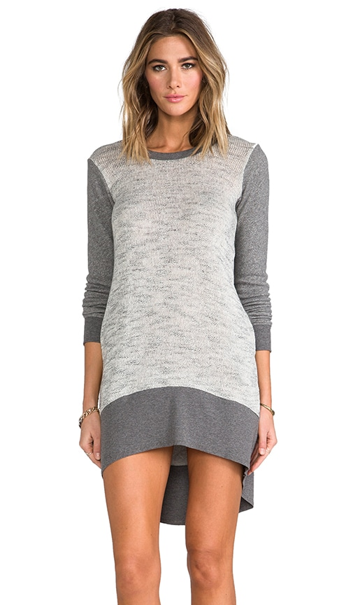 Long Sleeve Hi Lo Mixed Sweater Dress