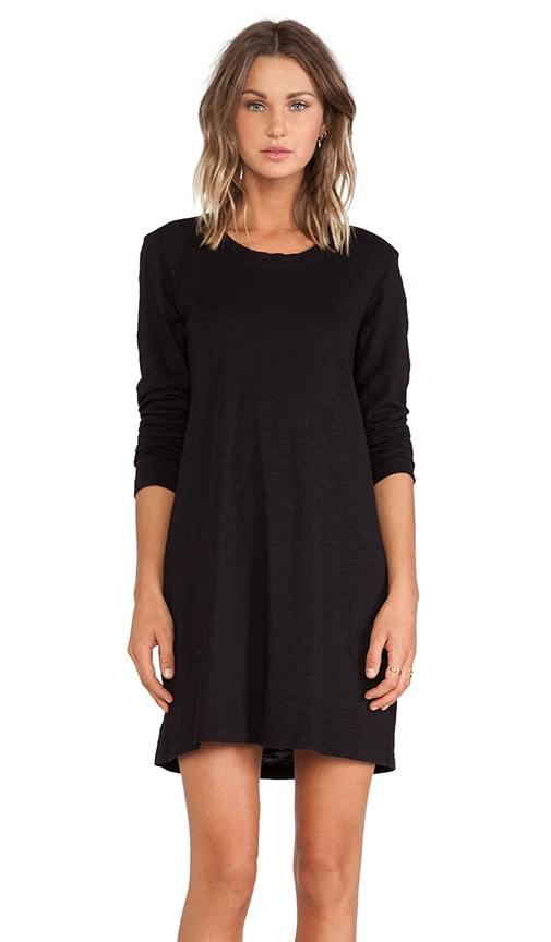 Slub Pleat Back Long Sleeve Dress