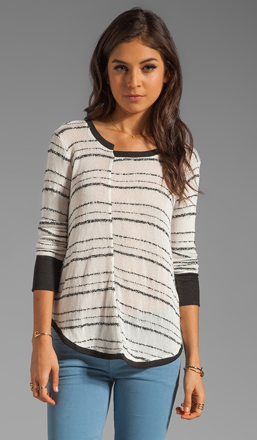 Broken Stripe Split Shirttail Sweater