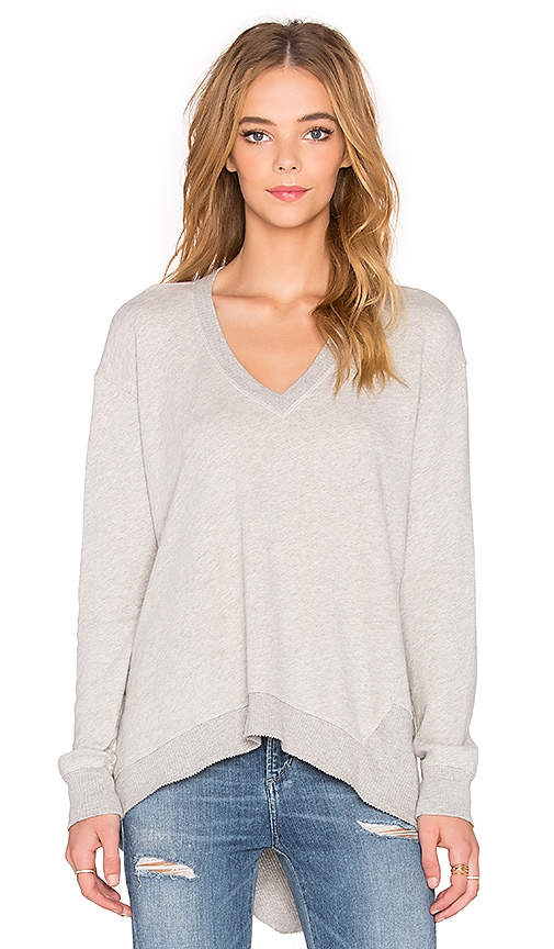 Wilt French Terry Big Deep V Backslant Sweater in Heather Grey