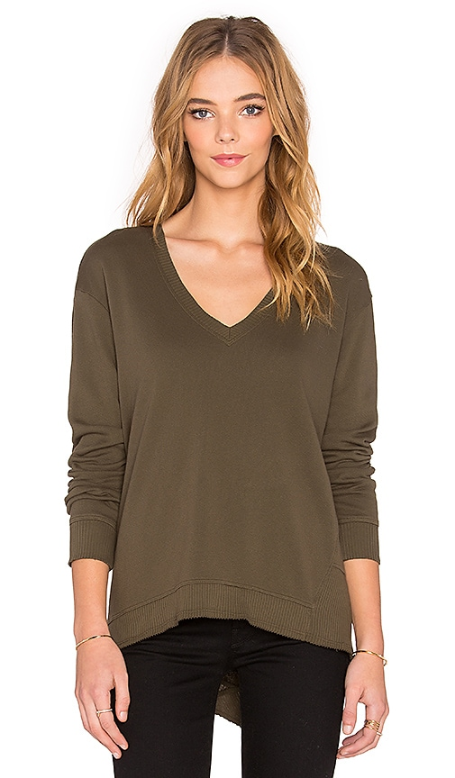 Wilt French Terry Big Deep V Backslant Sweater in Military