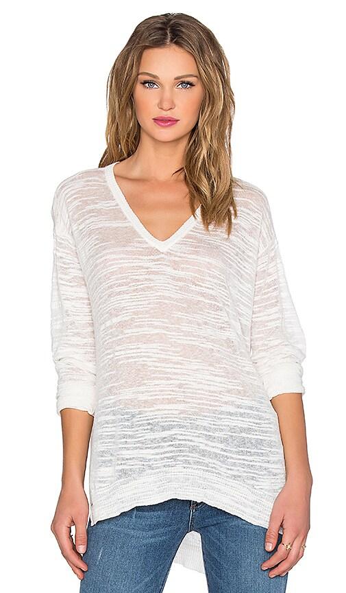 Wilt Slubby Linen V neck Slouchy Sweater in White