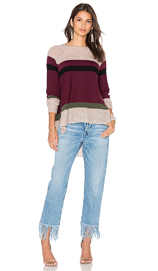 Wilt Blocked Stripe Shifted Sweater in Burgundy