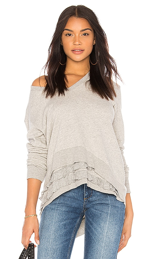 Wilt Mock Ruffle Hem Sweatshirt in Gray