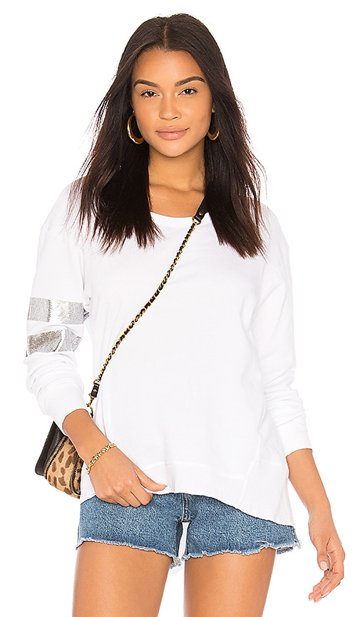 Wilt Silver Foil Big Backslant Sweatshirt in White