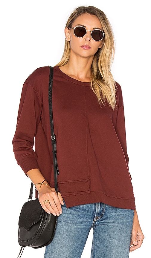 Wilt Shrunken Overlap 3/4 Sleeve Sweatshirt in Burgundy