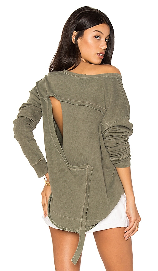 Wilt Slouchy Open Back Sweatshirt in Green