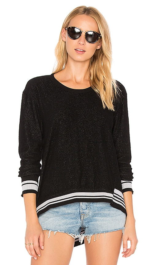 Wilt Big Backslant Rib Mix Trim Sweatshirt in Black