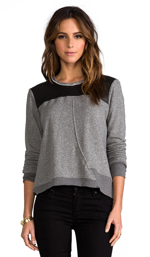Crop Raw Twist Leather Mix Sweatshirt
