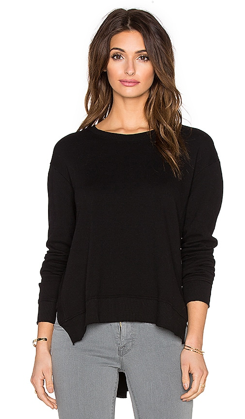 Wilt French Terry Slouchy Slit Sweatshirt in Black