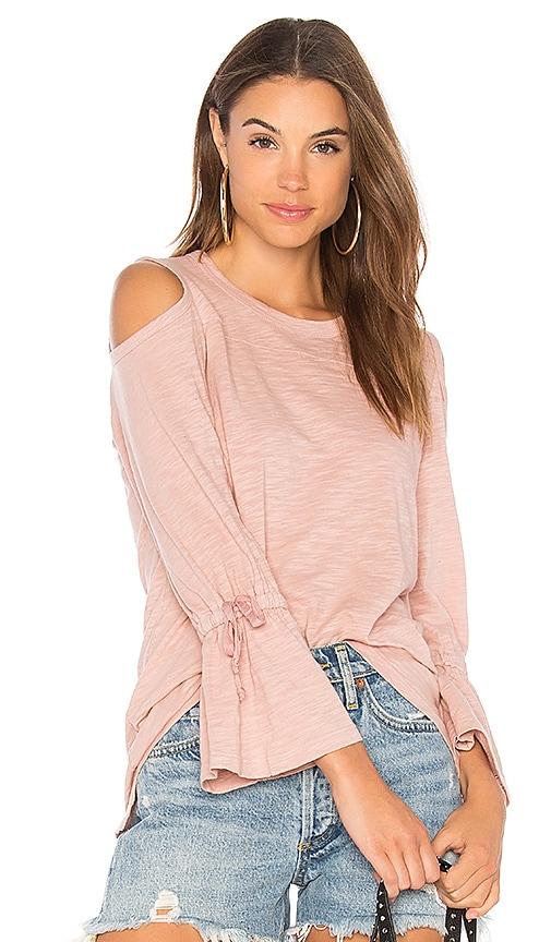 Wilt Cold Shoulder Tie Sleeve Tee in Blush