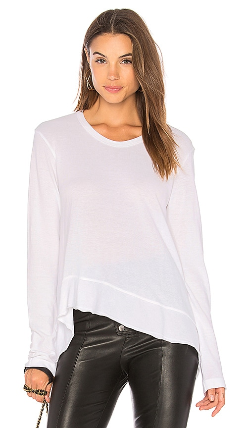 Wilt Slouchy Flutter Hem Top in White