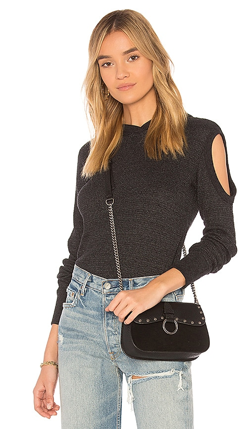Wilt Cold Shoulder Hoodie Long Sleeve Tee in Black